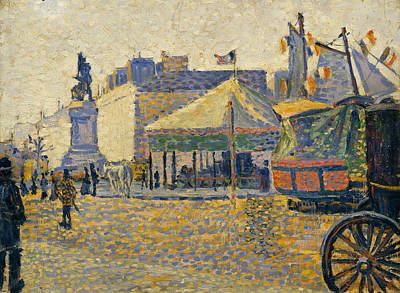 Pointillist Painting - Place De Clichy by Paul Signac