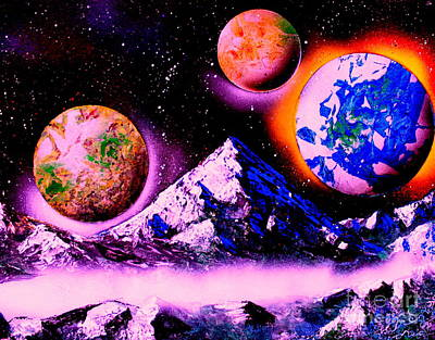Painting - 3 Planets 4653 E1 by Greg Moores
