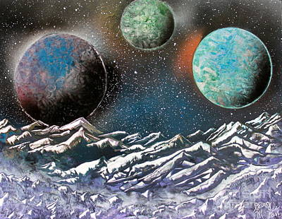 Art Print featuring the painting 3 Planets 4664 by Greg Moores