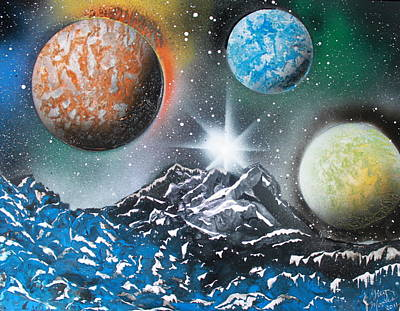 Art Print featuring the painting 3 Planets 4687 by Greg Moores