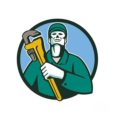 Plumber Holding Wrench Circle Retro Print by Aloysius Patrimonio