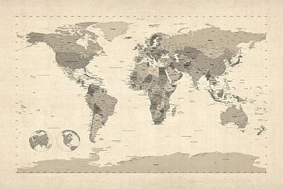 Digital Art - Political Map Of The World Map by Michael Tompsett