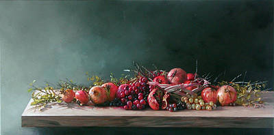 Painting - Pomegranates With Grapes by Demetrios Vlachos