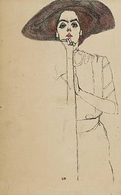 Relief - Portrait Of A Woman by Egon Schiele