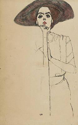 Relief - Portrait Of A Woman by Egon Schiele