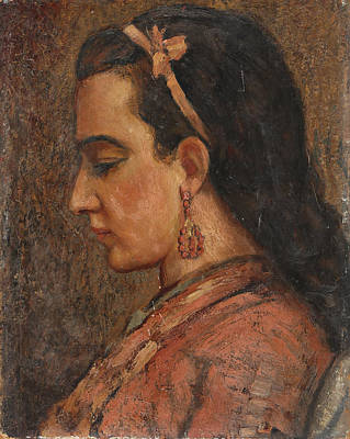 Woman With Black Hair Painting - Portrait Of A Woman by Ernest Moulines