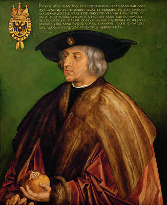 Germany Painting - Portrait Of Maximilian I by Albrecht Durer