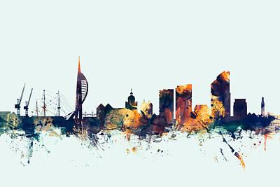 Great Britain Digital Art - Portsmouth England Skyline by Michael Tompsett