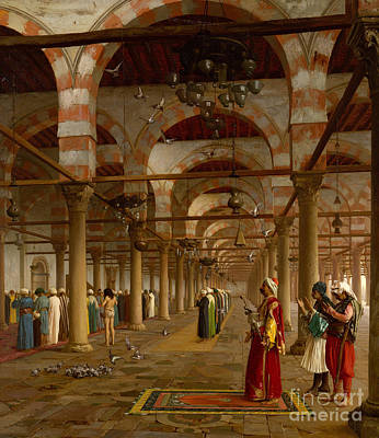 Mecca Painting - Prayer In The Mosque by Jean-Leon Gerome