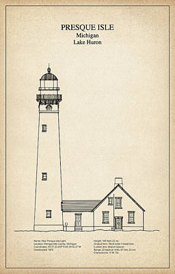 Lighthouse Digital Art - Presque Isle Lighthouse - Michigan - Blueprint Drawing by Jose Elias - Sofia Pereira