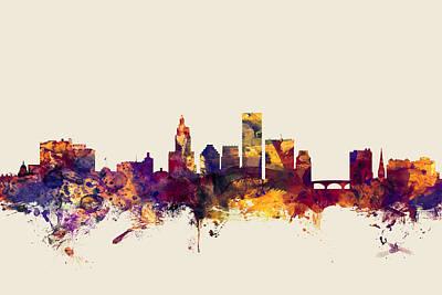 Rhode Island Digital Art - Providence Rhode Island Skyline by Michael Tompsett