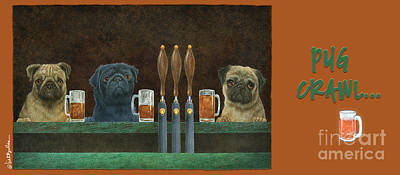 Painting - Pug Crawl... by Will Bullas