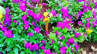 Painting - Purple Flowers Garden Abstract by Leah Lambart