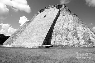 Photograph - Pyramid Of The Magician At Uxmal Mexico Black And White by Shawn O'Brien