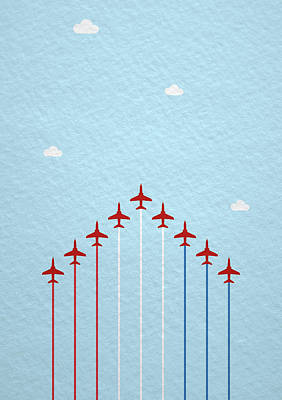 Raf Red Arrows In Formation Art Print by Samuel Whitton