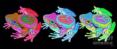 Digital Art - 3 Rainbow Peace Frogs by Nick Gustafson