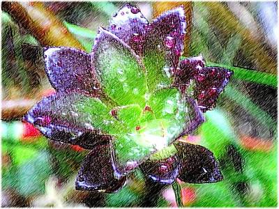Green Digital Art - Raindrops by Kumiko Izumi