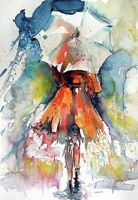 Umbrella Painting - Raining by Kovacs Anna Brigitta