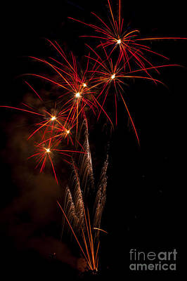 Red Photograph - Red Fireworks by Mandy Judson