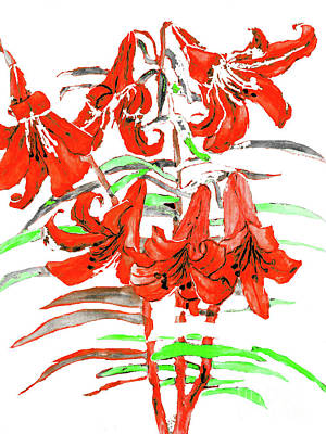 Painting - Red Lilies, Hand Drawn Painting by Irina Afonskaya