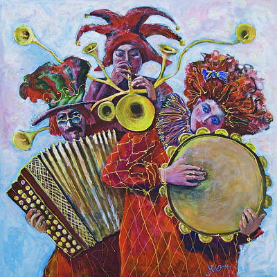 Painting - 3 Red Musicians by Maxim Komissarchik