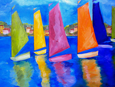 Colorful Boats Wall Art - Painting - Reflections Of Tortola by Patti Schermerhorn