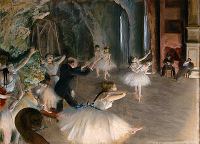 Rehearsal Painting - Rehearsal On Stage by Edgar Degas