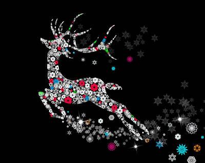 Animals Digital Art - Reindeer design by snowflakes by Setsiri Silapasuwanchai