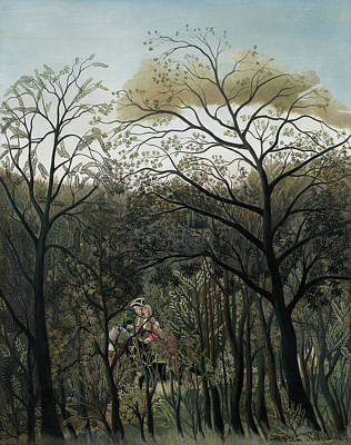Naive Art Painting - Rendezvous In The Forest by Henri Rousseau