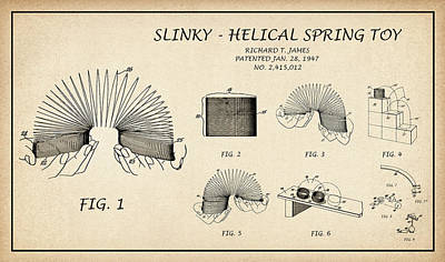 Drawing - Restored Patent Drawing For The Richard T. James Slinky Helical Spring Toy by Jose Elias - Sofia Pereira