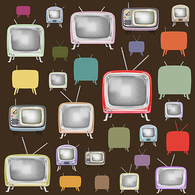 Painting - retro TV pattern  by Setsiri Silapasuwanchai