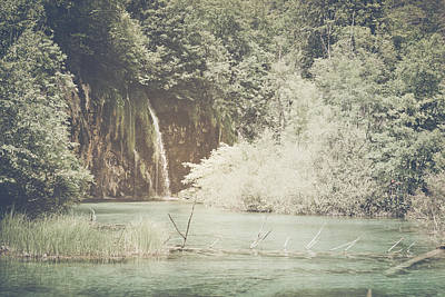Retro Waterfall With Sunlight With Vintage Film Style Art Print by Brandon Bourdages
