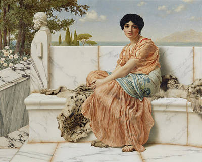 Marble Painting - Reverie by John William Godward