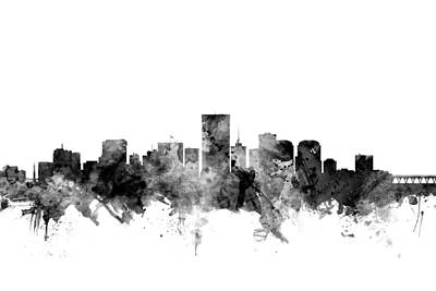 Richmond Digital Art - Richmond Virginia Skyline by Michael Tompsett