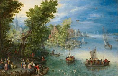 Belgium Painting - River Landscape by Jan Brueghel the Elder
