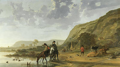 River Landscape With Riders Art Print by Aelbert Cuyp