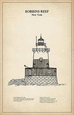 Robbins Reef Lighthouse - New York - Blueprint Drawing Art Print