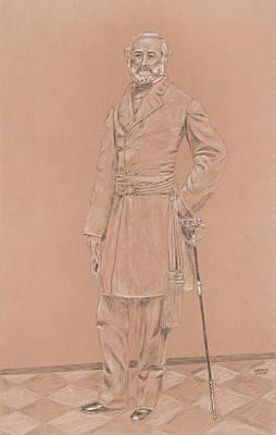 General Robert E Lee Drawing - Robert E. Lee by Dennis Larson