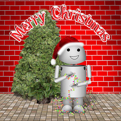 Gx9 Mixed Media - Robo-x9 Wishes A Merry Christmas by Gravityx9 Designs