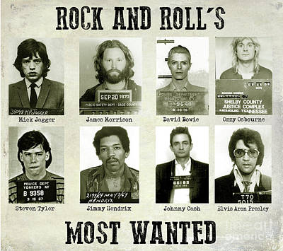 Rock And Rolls Most Wanted Art Print