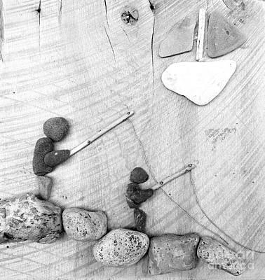 Rock Art Fishing Friends Original