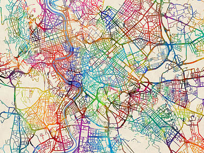 Digital Art - Rome Italy Street Map by Michael Tompsett