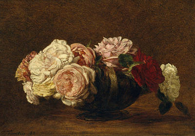 Painting - Roses In A Bowl by Henri Fantin-Latou