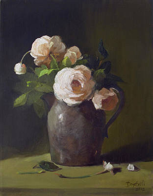 Painting - 3 Roses In Silver Pitcher by Kathryn Donatelli