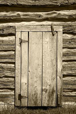 Log Cabin Art Photograph - Rough Wood Door On Log Building by Donald  Erickson