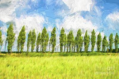 Digital Art - Row Of Trees In The Wind by Patricia Hofmeester
