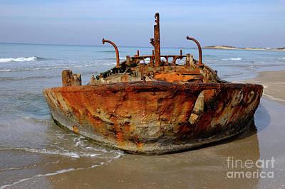 Rusty Abandoned Beached Ship  Art Print