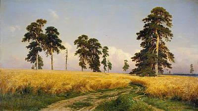 Russian Art Painting - Rye by Ivan Shishkin