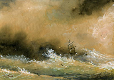 Poster Painting - Sail Ship Watercolor by Juan  Bosco