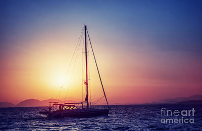 Photograph - Sailboat On Sunset by Anna Om